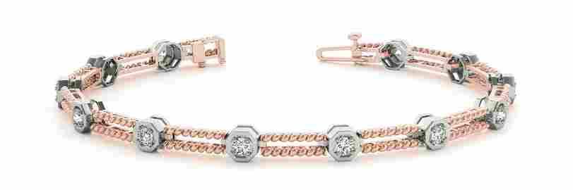 0.24 Carat Diamond Engagement 14K Rose Gold Bracelet