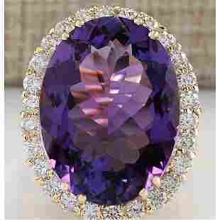 16.86 CTW Natural Amethyst And Diamond Ring In 14K