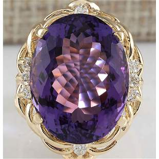 14.91 CTW Natural Amethyst And Diamond Ring 18K Solid
