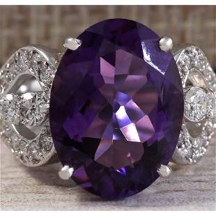 8.89 CTW Natural Amethyst And Diamond Ring In 18K Solid