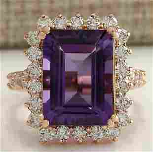 8.07 CTW Natural Amethyst And Diamond Ring In 18K Solid