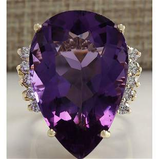 30.25 CTW Natural Amethyst And Diamond Ring In 14K