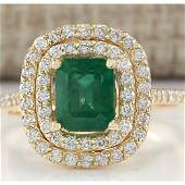 2.33 CTW Natural Emerald And Diamond Ring In 14K Yellow