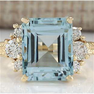 7.88 CTW Natural Blue Aquamarine And Diamond Ring 18K