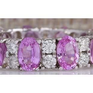 7.71 CTW Natural Pink Ceylon Sapphire Diamond Ring 14K