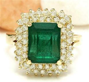 4.80 CTW Natural Emerald 18K Solid Yellow Gold Diamond