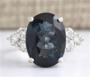 12.13 CTW Natural London Blue Topaz And Diamond Ring