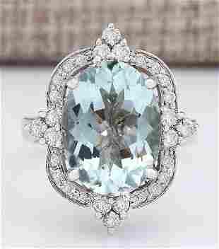 8.92 CTW Natural Aquamarine And Diamond Ring In 14k