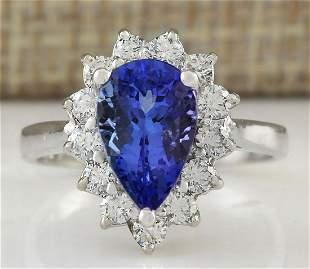 3.13 CTW Natural Tanzanite And Diamond Ring In 14K
