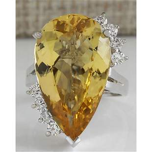 12.50 CTW Natural Yellow Beril And Diamond Ring In 14k