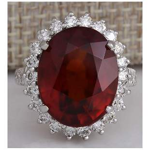 18.43 CTW Natural Red Hessonite Garnet And Diamond Ring
