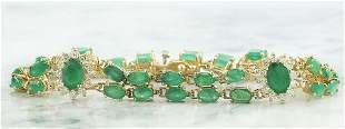 12.50 CTW Emerald 18K Yellow Gold Diamond Bracelet