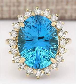 12.63 CTW Natural Blue Topaz And Diamond Ring In 18K