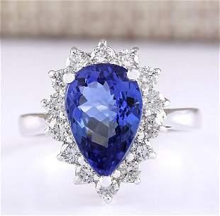 4.07 CTW Natural Blue Tanzanite And Diamond Ring 18K