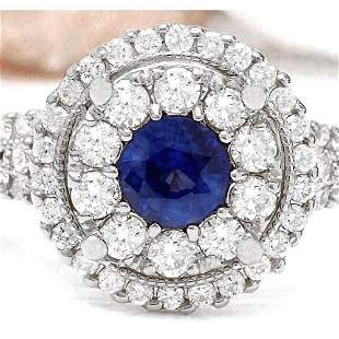 2.10 CTW Natural Sapphire 14K Solid White Gold Diamond
