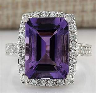 7.09 CTW Natural Amethyst And Diamond Ring In 14K Solid