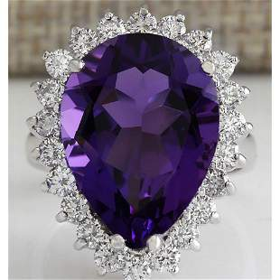10.80 CTW Natural Amethyst And Diamond Ring In 14K