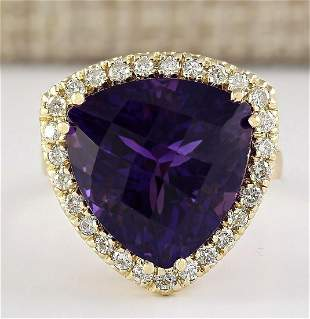 12.65 CTW Natural Amethyst And Diamond Ring In 18K
