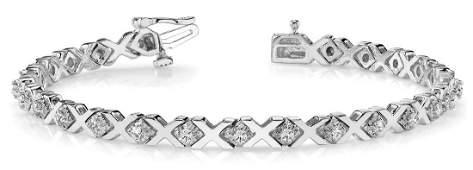 0.91 Carat Diamond Engagement 14K White Gold Bracelet