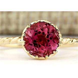 1.50 CTW Natural Pink Tourmaline Ring In 14k Yellow