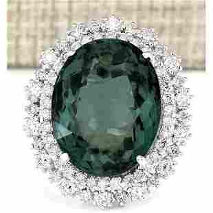 19.90 CTW Natural Green Tourmaline And Diamond Ring 18K