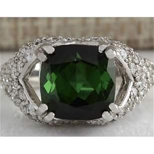 7.93 CTW Natural Green Tourmaline And Diamond Ring 18K