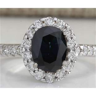 3.11 CTW Natural Blue Sapphire Diamond Ring 14K Solid