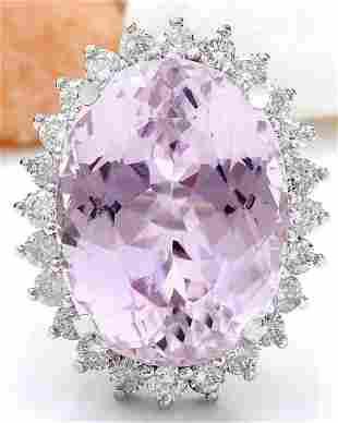 24.08 CTW Natural Kunzite 18K Solid White Gold Diamond