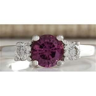 1.70 CTW Natural Pink Ceylon Sapphire Diamond Ring 18K