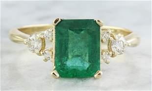 2.23 CTW Emerald 14K Yellow Gold Diamond Ring