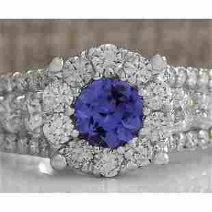 2.36 CTW Natural Blue Tanzanite And Diamond Ring In 14K