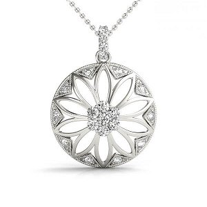 0.25 Carat Diamond Engagement 14K White Gold Pendant