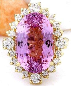14.90 CTW Natural Kunzite 18K Solid Yellow Gold Diamond