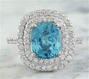 6.35 CTW Zircon 18K White Gold Diamond Ring