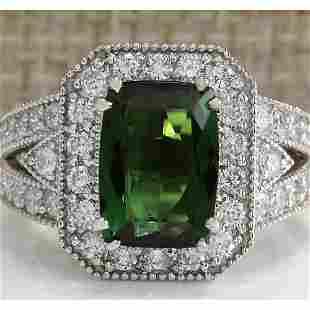4.72 CTW Natural Green Tourmaline And Diamond Ring 18K