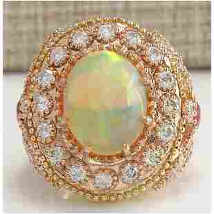 7.71 CTW Natural Opal And Diamond Ring In 18K Solid