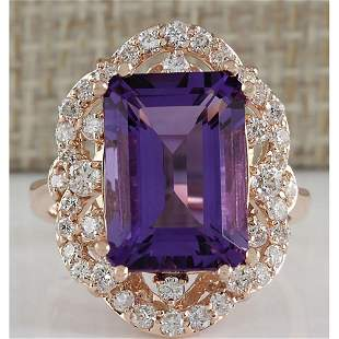 7.78 CTW Natural Amethyst And Diamond Ring In 14K Rose