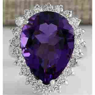 10.80 CTW Natural Amethyst And Diamond Ring In 18K
