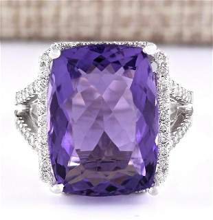 11.80 CTW Natural Amethyst And Diamond Ring In 18K