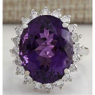 14.72CTW Natural Amethyst And Diamond Ring In 18K Solid