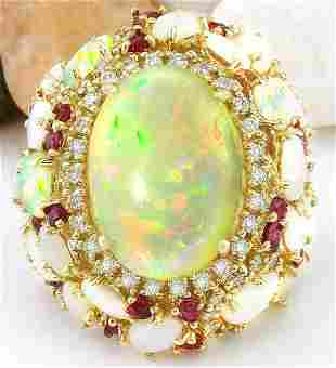 17.17 CTW Natural Opal, Ruby 18K Solid Yellow Gold