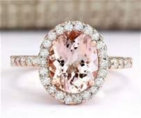 2.67 CTW Natural Morganite And Diamond Ring In 14k Rose