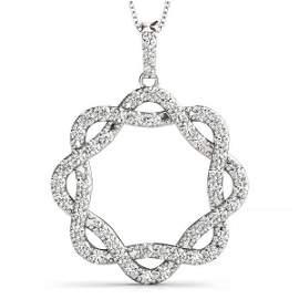 0.99 Carat Diamond Engagement 14K White Gold Circle