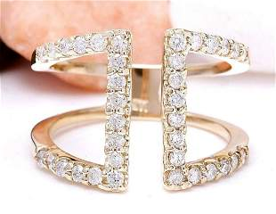 0.60 CTW Natural Diamond 14K Solid Yellow Gold Ring