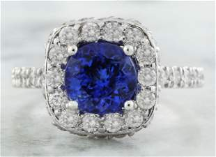 2.87 CTW Tanzanite 18K White Gold Diamond Ring