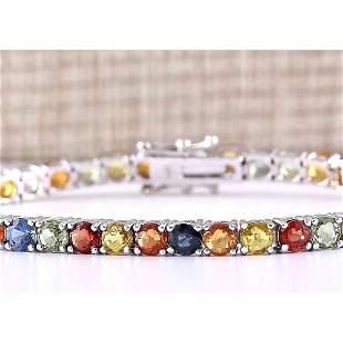 14.64 CTW Natural Multi-color Sapphire Bracelet In 18K