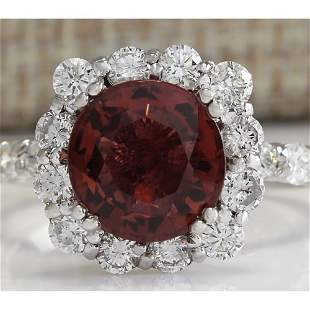 4.66 CTW Natural Pink Tourmaline And Diamond Ring 18K