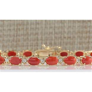8.77 CTW Natural Red Coral And Diamond Bracelet In 18K