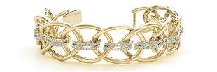 3.51 Carat Diamond Engagement 14K Yellow Gold Bracelet