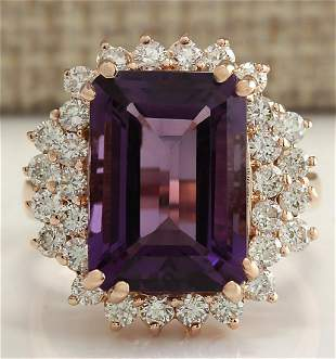 8.37 CTW Natural Amethyst And Diamond Ring In 14K Solid